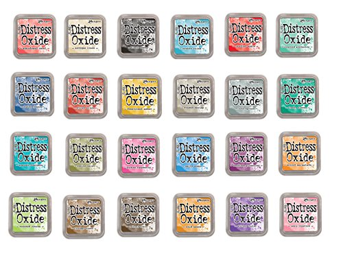 Tim Holtz and Ranger Distress Oxide Inks - Complete set of 24 Distress Oxide Ink 3x3 pads and Bonus Oxide Ink Color Chart by Ranger Ink