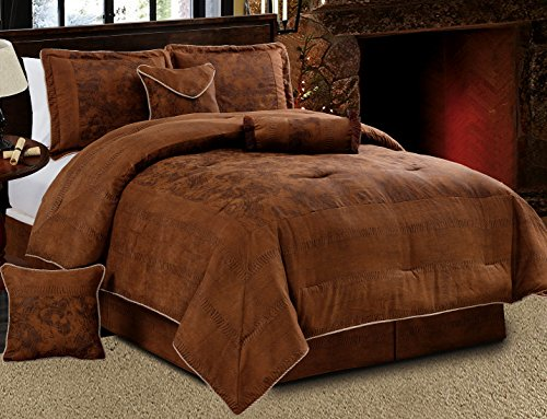 (7 Piece Dark Brown Embossed Faux Suede Paisley comforter set Oversize (94
