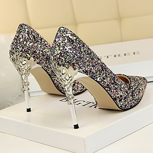 de plata Qiqi los Gradiente zapatos de tac Xue AqH6EB8xw