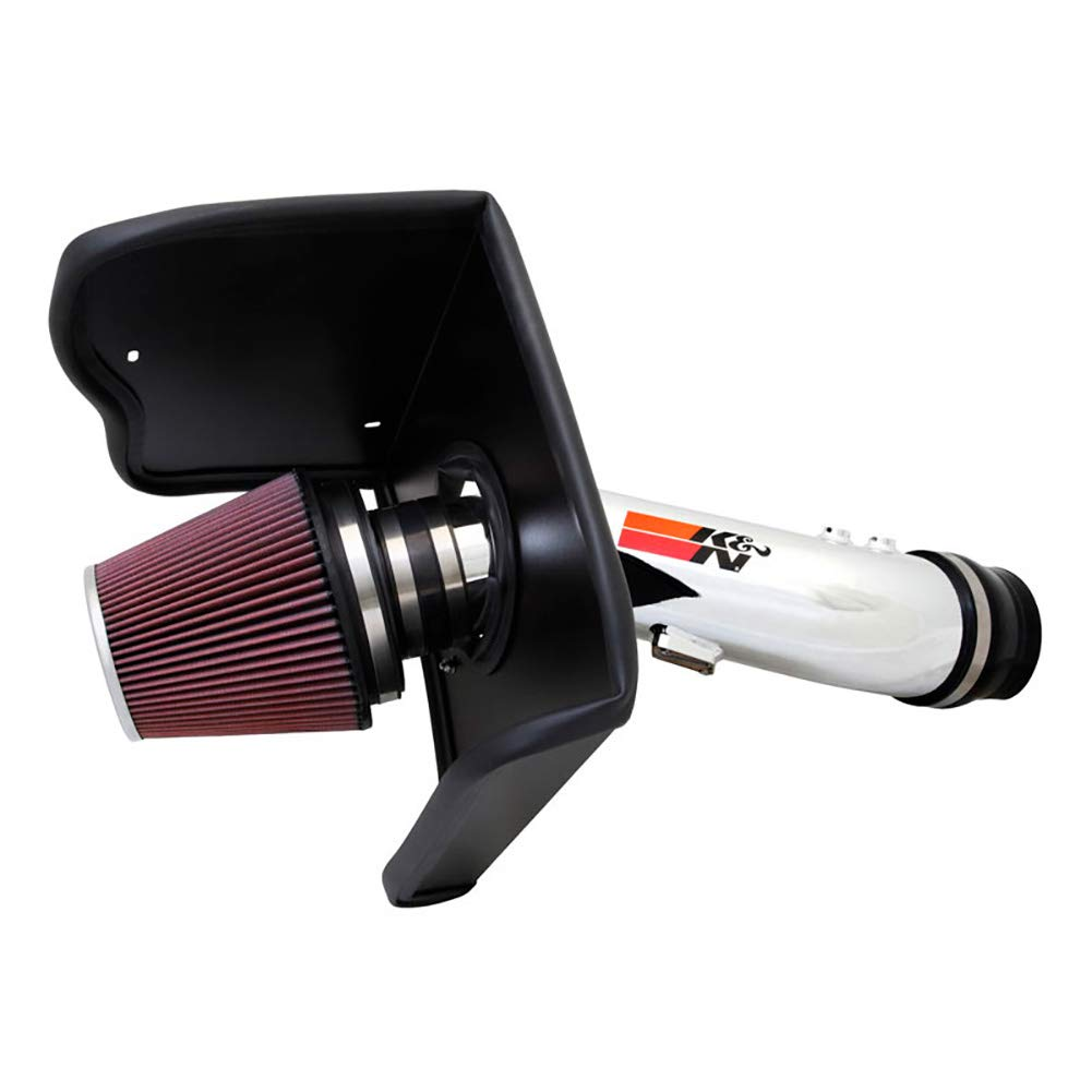 K&N Cold Air Intake Kit with Washable Air Filter:  2012-2019 Toyota Tundra 5.7L V8, Polished Metal Finish with Red Oiled Filter, 77-9036KP by K&N