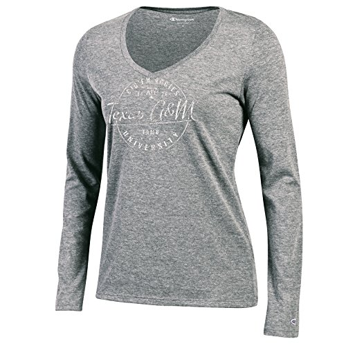 Champion NCAA Texas A&M Aggies Women's Long Sleeve V-Neck Tee, X-Large, Oxford Grey ()