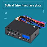 "fosa 5.25"" Multifuntion Media Dashboard Front Panel 2 USB 3.0 Hub Card Reader with LCD Display"