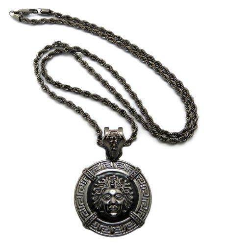 "Egyptian Medusa Medal Pendant with 24"" Stainless Steel Rope Chain - Black/Hematite-Tone XP877HE-SR"