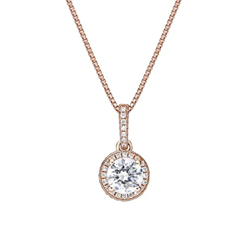 Nana Sterling Silver Halo Pendant 1.00, 1.50, or 2.00 Carat Center Swarovski CZ with 0.80mm 22 Adj. Box Chain