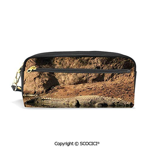 Girls Boys 3D Printed PU Pencil Case Holders Bag with Zipper Nile Crocodile Swimming in The River Rock Cliffs Tanzania Geography Stationery Makeup Cosmetic Bags Back to School