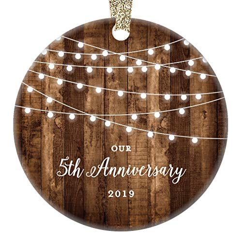 "5th Anniversary Gifts Dated 2019 Fifth Anniversary Married Christmas Ornament for Couple Mr & Mrs Rustic Xmas Farmhouse Collectible Present 3"" Flat Circle Porcelain with Gold Ribbon & Free Gift Box"