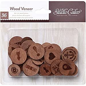 Studio Calico Wood Veneer Burnished Circles Wooden Embellishments