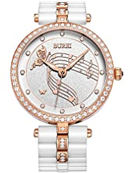 BUREI Women Watch Dress Classic Design for Ladies Wristwatch with Ceramic Band (rose gold-white)