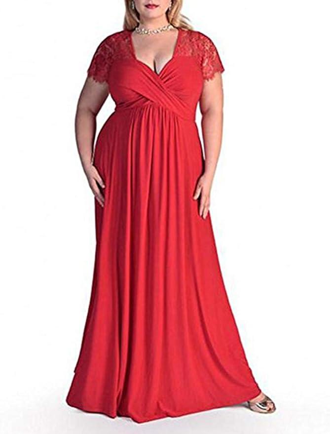 FeelinGirl Abito da Donna Taglie Forti Manica Corta da Sera a Vita Alta Gonna Damigella Vestito Lunghe Senza Schienale Scollo a V Abiti da Cerimonia Donna Vestiti Lunghi Eleganti Estivi Rosso
