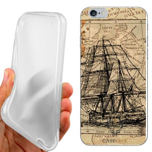 CUSTODIA COVER CASE MAPPA NAVE VINTAGE PER IPHONE 6 4.7 POLLICI