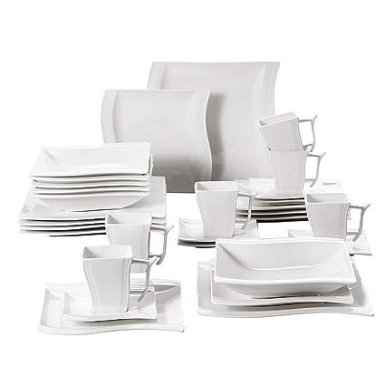 Amazoncom Malacasa 30 Piece Porcelain Square Dinnerware Plates