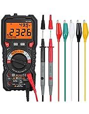 Multímetro Digital 6000 Cuentas TRMS Polimetro Rango Auto/Manual Profesional Voltaje Corriente CA CC NCV Capacitancia Temperatura Diodo Continuidad con 5 pares Cables de Prueba con pinzas