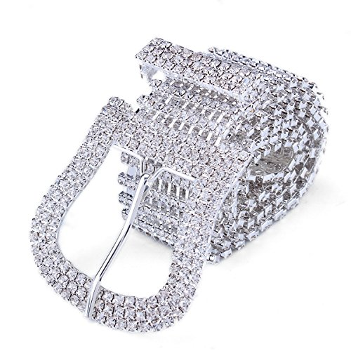 - Stuff 10 Lines Rhinestone Crystal Chain Waist Buckle Belt Fashion Accessory for Women Wedding Prom Evening Dresses Accessory (Silver-plated)