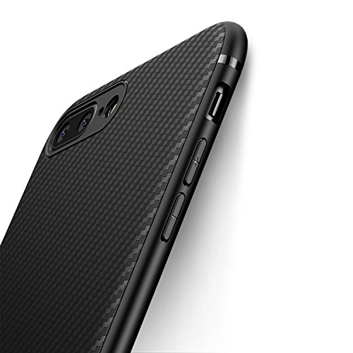 iPhone 7 Plus Case iPhone 8 Plus Case, iCOCEN [Carbon Fiber Texture Design] Durable Light Shockproof Cover Full Protective Slim Fit Shell Soft TPU Silicone Bumper Case for iPhone 7/8 Plus 2017 Black