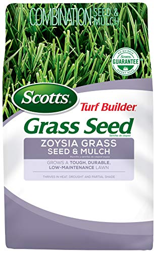 Scotts Turf Builder Grass Seed Zoysia Grass Seed and Mulch, 5 lb. - Full Sun and Light Shade - Thrives in Heat  Drought - Grows a Tough, Durable, Low-Maintenance Lawn - Seeds up to 2,000 sq. ft. reviews