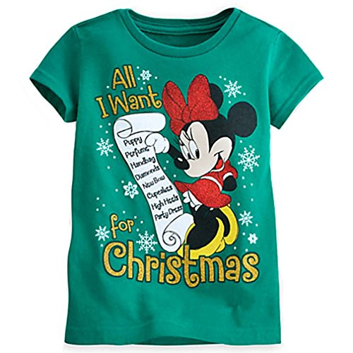 amazoncom disney store little girls minnie mouse christmas tee clothing - Disney Christmas Shirts