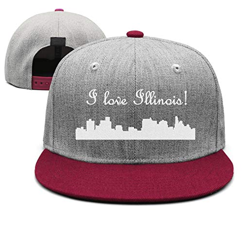Fashion Strapback Cap Mens Guys I Love Illinois Cities White Burgundy Adjustable Cool Casual Unisex Hat
