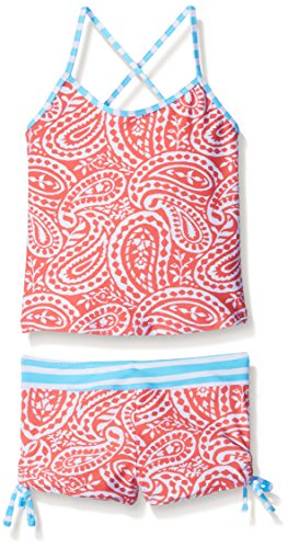 Tommy Bahama Big Girls' Two Piece Paisley Tankini Swimsuit with Stripe Back, Red, 14
