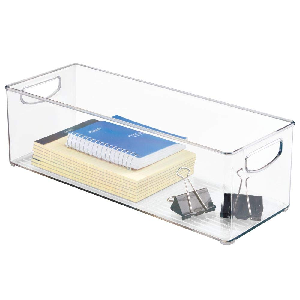 mDesign Large Stackable Plastic Storage Bin Container, Home Office Desk and Drawer Organizer Tote with Handles - Holds Gel Pens, Erasers, Tape, Pens, Pencils, Markers - 16'' Long, 8 Pack - Clear by mDesign (Image #9)