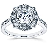 Antique Floral Cushion-cut Moissanite Engagement Ring with Diamond 1 1/3 CTW 14k White Gold, Size 11
