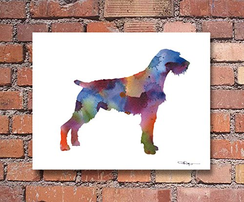 """German Wirehaired Pointer"" Watercolor Art Print Signed by Artist DJ Rogers"