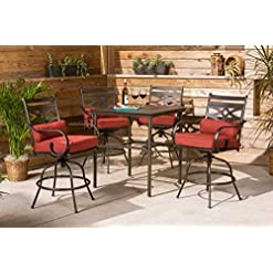 Garden and Outdoor Hanover MCLRDN5PCBR-CHL Montclair 5-Piece High-Dining Patio Set in Chili Red with 4 Swivel Chairs Outdoor Furniture patio dining sets