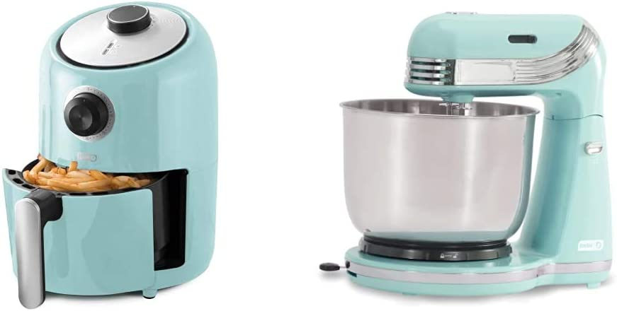 Dash Compact Air Fryer Oven Cooker, 2 Quart - Aqua & Stand Mixer (Electric Everyday Use): 6 Speed with Dough Hooks & Mixer Beaters for Dressings, 3 qt Stainless Steel Mixing Bowl, Aqua