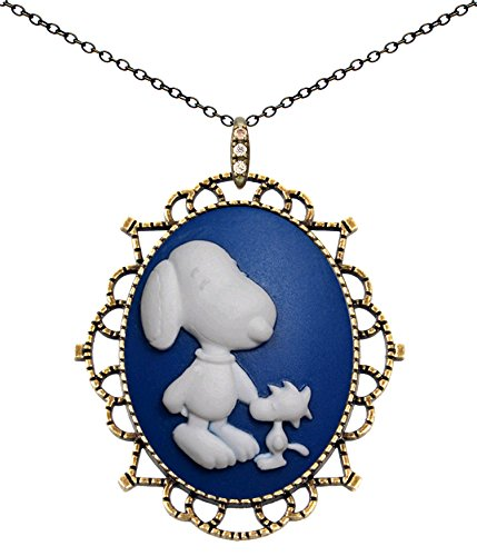 Princess Crown Necklace Antique Brass Fashion Jewelry Deluxe Pouch for Gift (Snoopy Friend) (Snoopy Stuff)