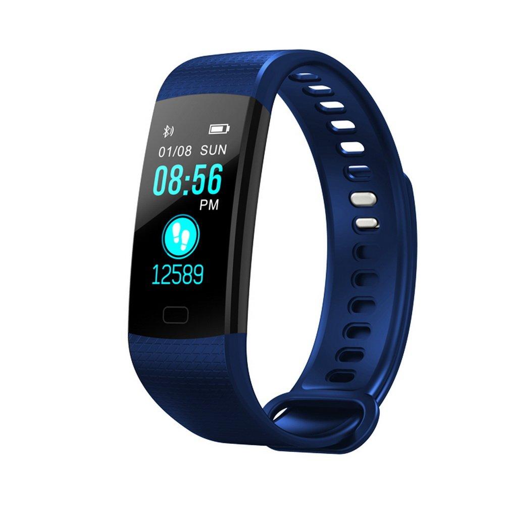 カラフルな画面スマートブレスレットリストバンドFitness Tracker with Heart Rate血圧モニター歩数計for iOS Android B07CVNLVDH ブルー ブルー