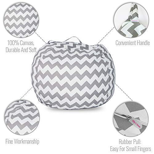 Lilly's Love Popular Stuffed Animal Bean Bag Chevron Storage Chair. Clean Rooms Faster