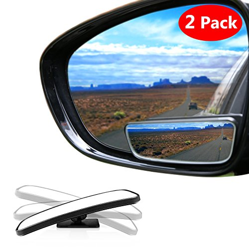 Adjustable Swivel Bracket (Blind Spot Mirror Square LIBERRWAY Wide Angle Mirror Adjustable Convex Rear View Mirror 360°Rotate for All Universal Vehicles Car Stick on Design 2 Pack)