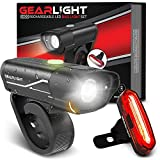 GearLight S400 Rechargeable LED Bike Light Set - High Lumen Front and Back Cycling Safety Lights - Best All-Weather USB Headlight and Tail Light for Kid and Adult Bicycles