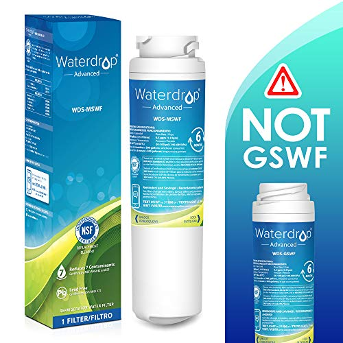 Waterdrop NSF 53&42 Certified Refrigerator Water Filter, Compatible with GE MSWF, 101820A, 101821B, 101821-B, Advanced