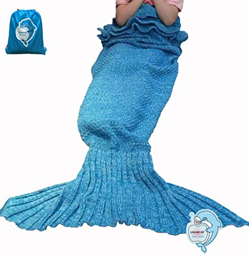 Top Or Floral Tapestry (LAGHCAT Mermaid Tail Blanket with the Ruffles on top Knit Crochet and Mermaid Blanket for Kids,Sleeping Blanket (56