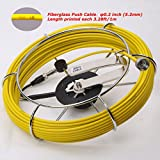 GooQee Sewer Drain Sewer Pipe Video Inspection Camera 100ft Fiberglass Push Cable Ø0.2inch Mounted with Stainless Steel Wheel Replacement of PIC001 PIC003 fits GooQee Camera Ø0.9inch only (30m)