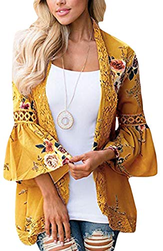 (ECOWISH Womens Floral Print Loose Puff Sleeve Kimono Cardigan Lace Patchwork Cover Up Blouse Yellow XL)