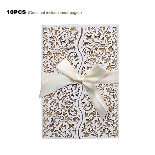 finessci 10PCS Invitations,Infrared Cutout European Flower with Elegant Bow for Kids Birthday Bridal Shower Wedding Birthday Party or Special Event,4.92x 7.09 Inches