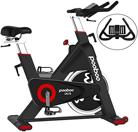 pooboo Exercise Bike 44lbs Heavy-Duty Flywheel Belt Drive Indoor Cycling Bike with LCD Monitor Home Cardio Workout Stationary Bike