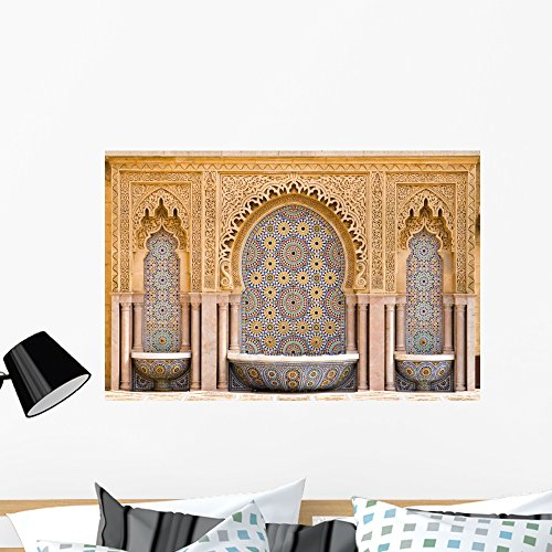 Wallmonkeys WM216454 Typical Moroccan Tiled Fountain in The City of Rabat Peel and Stick Wall Decals (36 in W x 24 in H), Large