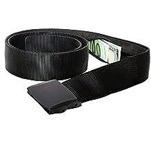 RFID Blocking Travel Money Belt - Hidden Money Pouch - Non-Metal Buckle, Black