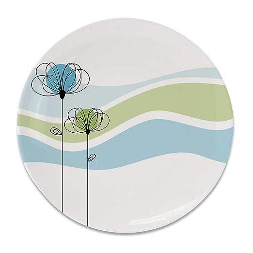 YOLIYANA Doodle - Plato Decorativo de cerámica Redondo, diseño con ...