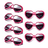 Neon Colors Party Favor Supplies Wholesale Heart Sunglasses (7 Pack Hot Pink)