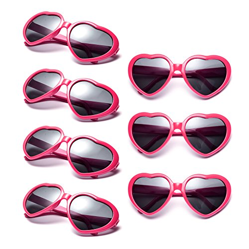 Neon Colors Party Favor Supplies Wholesale Heart Sunglasses (7 Pack Hot Pink) (Costume Colored Contact Lenses)