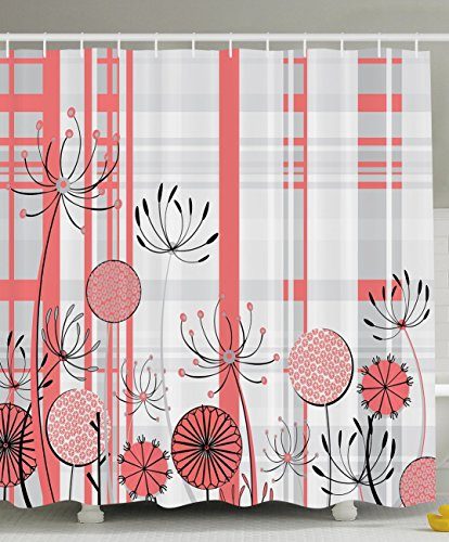 Coral and Gray Shower Curtain: Amazon.com
