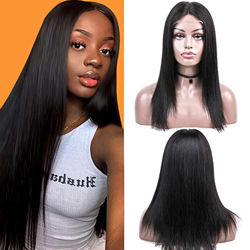 ALLRUN Human Hair Lace Closure Wig 4×4 Lace Closure Wig Brazilian Straight Human Hair Lace Closure Wigs with Baby Hair for Women 130% Density Natural Color(16 Inch) from ALLRUN