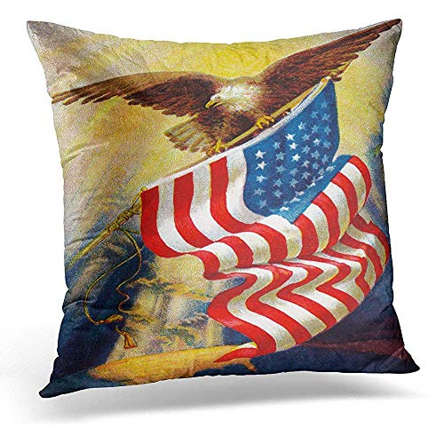 Decorative Pillow Cover Patriot Celebrating ''Old Glory'' Our American Flag Circa 1912 Vintage of Bald Eagle and Americana Throw Pillow Case Square Home Decor Pillowcase 18x18 Inches