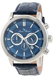 Lucien Piccard Men's 12011-03 Monte Viso Chronograph Dark Blue Textured Dial Dark Blue Leather Band Watch