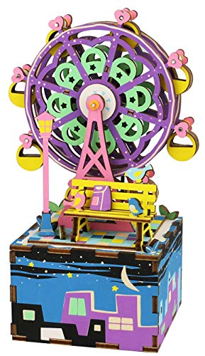 ROBOTIME DIY Craftable Music Box Set, Build Your Own 3D Wood Puzzle, Ferris Wheel, Plays Song - Castle In The ()