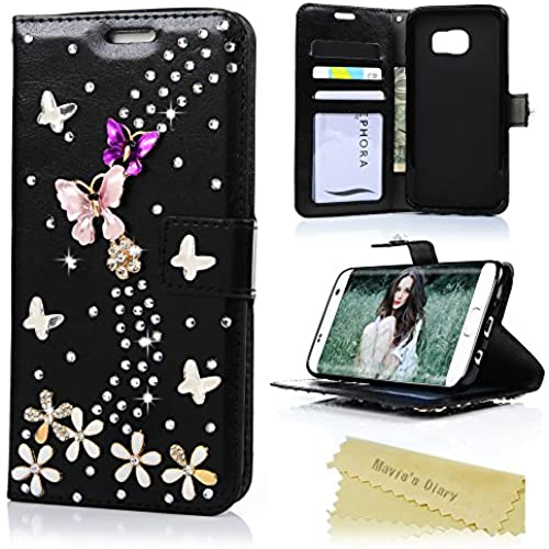 S7 Edge Case,Galaxy S7 Edge Wallet Case - Mavis's Diary 3D Handmade Bling Crystal PU Leather with Shiny Diamonds Sales