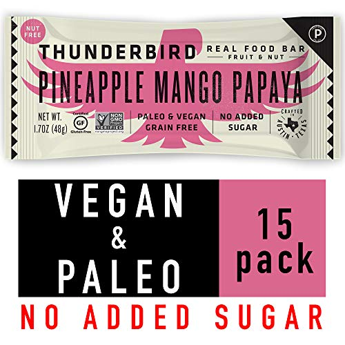 Thunderbird Paleo and Vegan Snacks - Real Food Energy Bars - Pineapple Mango Papaya - Box of 15 - No Added Sugar, Grain and Gluten Free, Whole 30, Non-GMO
